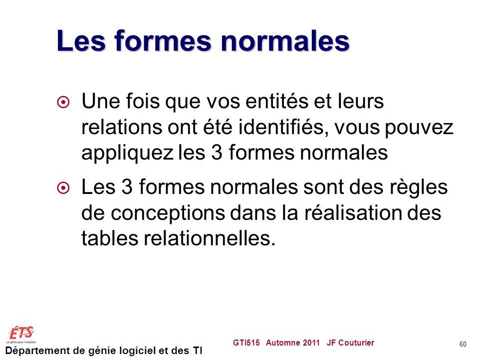 Les formes normales Une fois que vos entités et leurs relations ont été identifiés, vous pouvez appliquez les 3 formes normales.