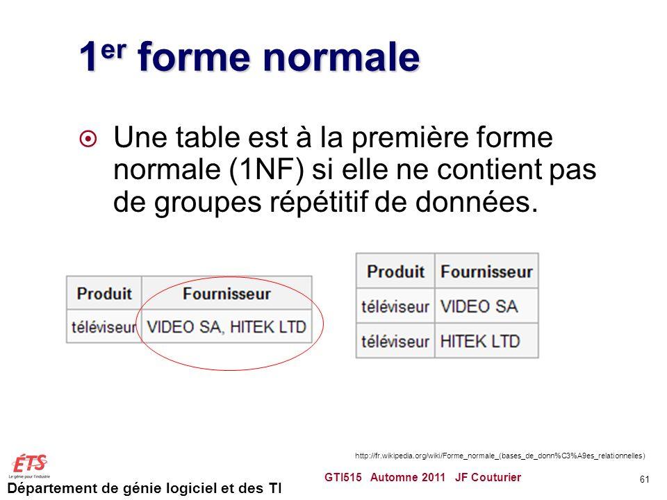 1er forme normale Une table est à la première forme normale (1NF) si elle ne contient pas de groupes répétitif de données.