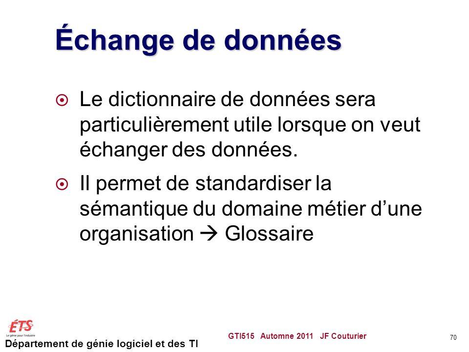 Échange de données Le dictionnaire de données sera particulièrement utile lorsque on veut échanger des données.