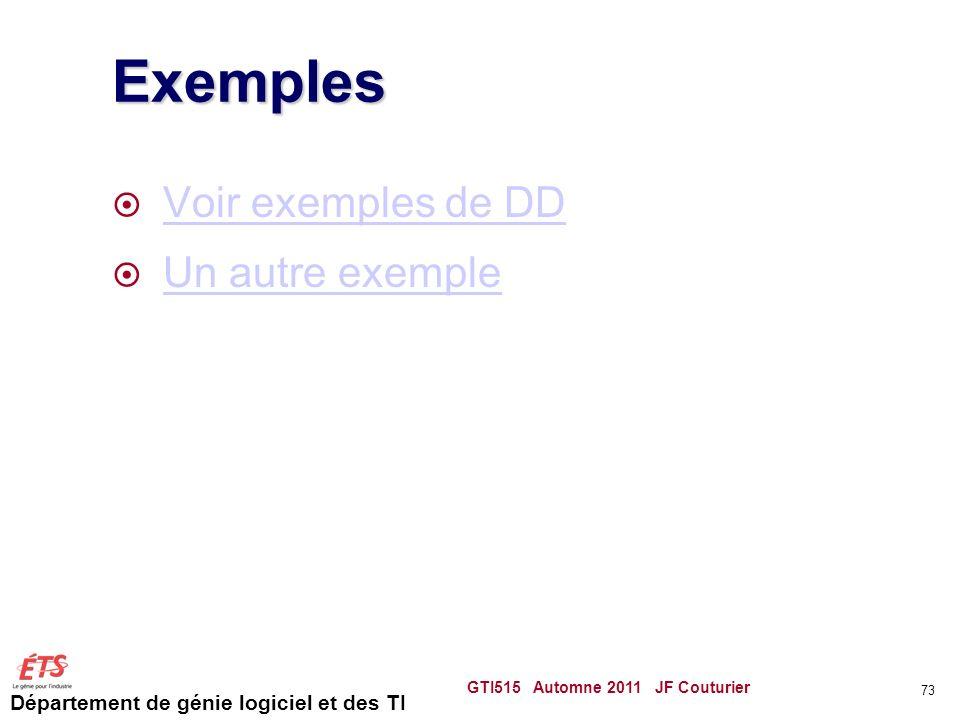 Exemples Voir exemples de DD Un autre exemple