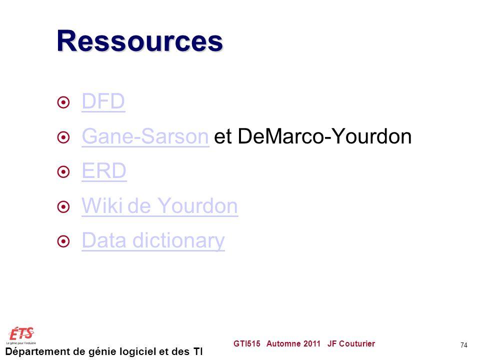 Ressources DFD Gane-Sarson et DeMarco-Yourdon ERD Wiki de Yourdon