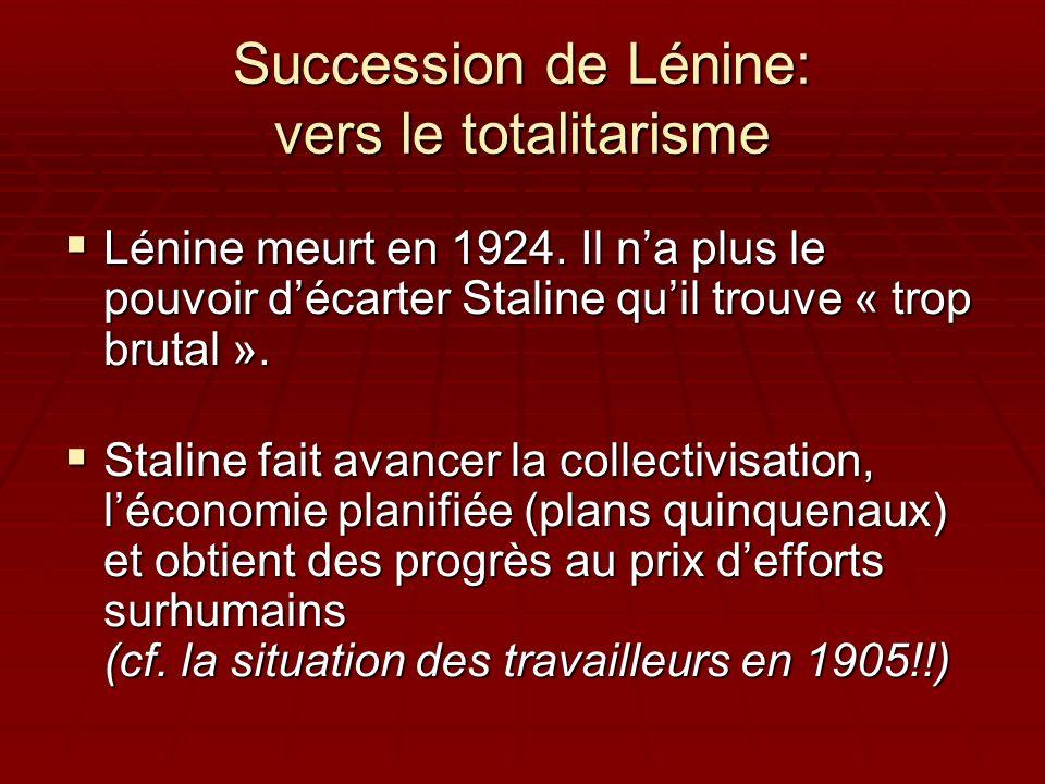 Succession de Lénine: vers le totalitarisme