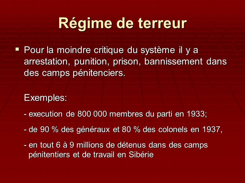 Régime de terreur Pour la moindre critique du système il y a arrestation, punition, prison, bannissement dans des camps pénitenciers.