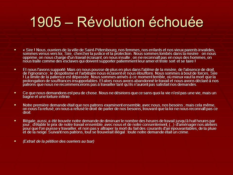 1905 – Révolution échouée