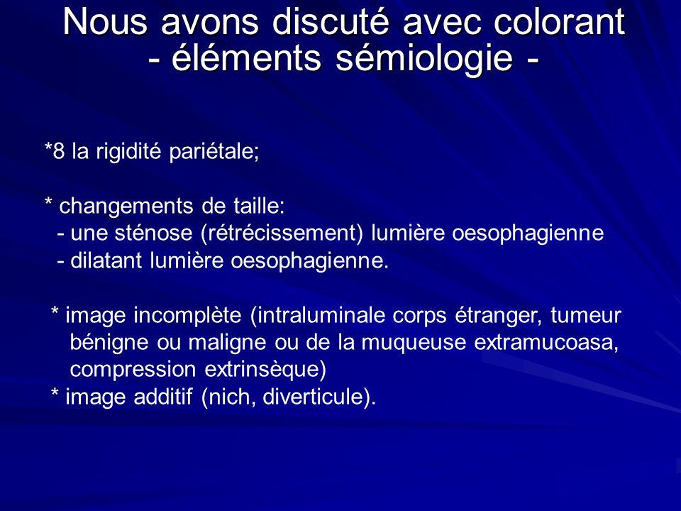 Nous avons discuté avec colorant - éléments sémiologie -