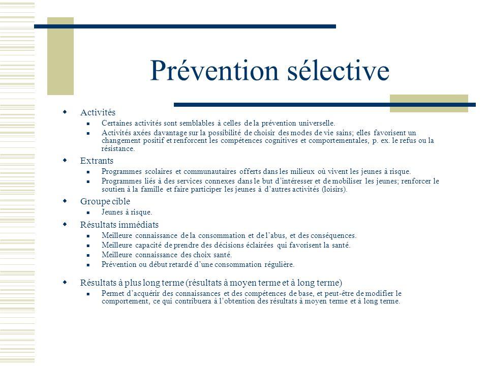 Prévention sélective Activités Extrants Groupe cible