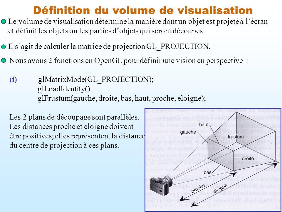 Définition du volume de visualisation