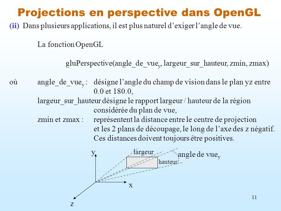Projections en perspective dans OpenGL