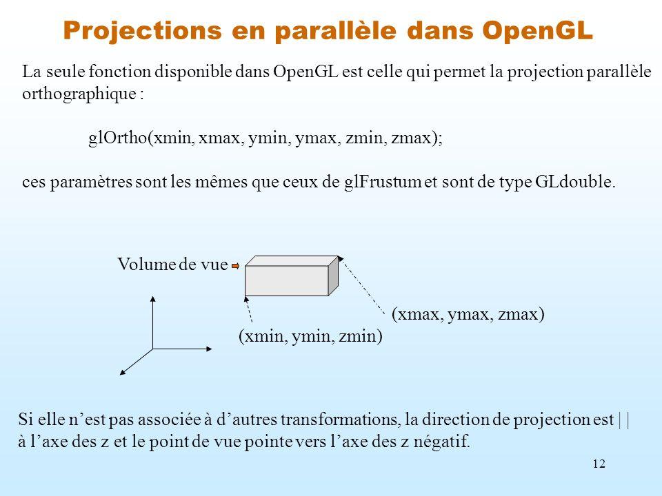 Projections en parallèle dans OpenGL