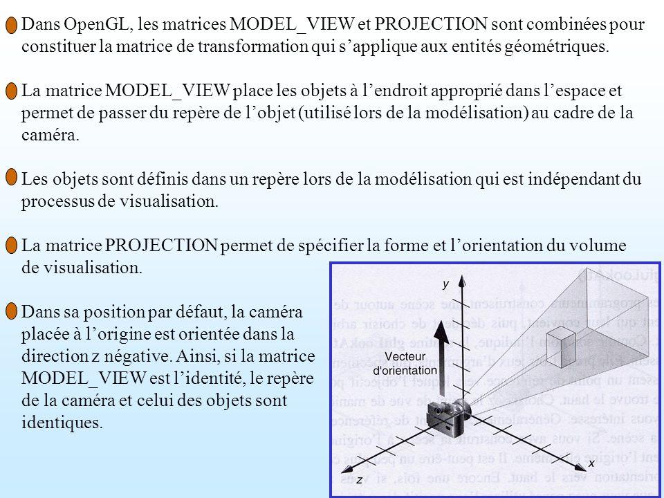 Dans OpenGL, les matrices MODEL_VIEW et PROJECTION sont combinées pour