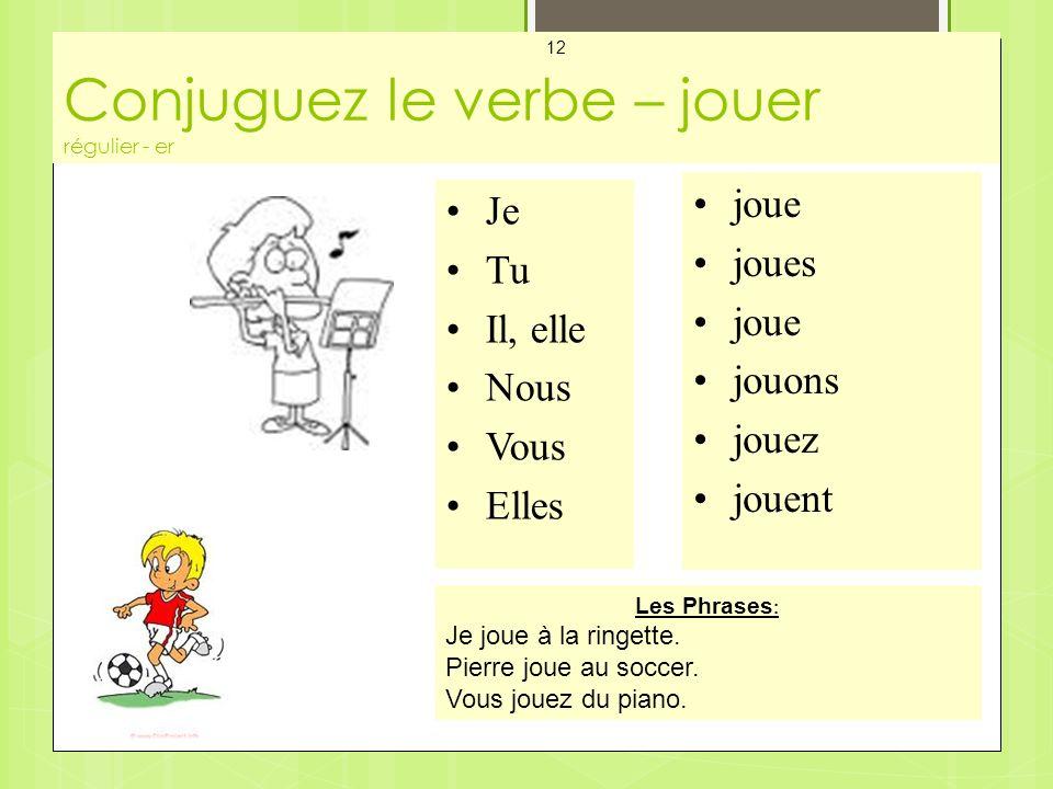Conjuguez le verbe – jouer régulier - er