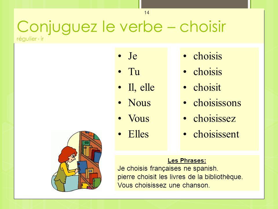 Conjuguez le verbe – choisir régulier - ir