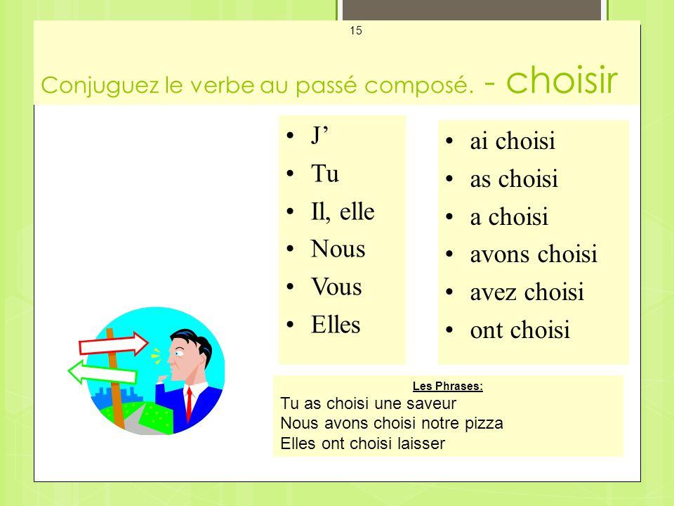 Conjuguez le verbe au passé composé. - choisir