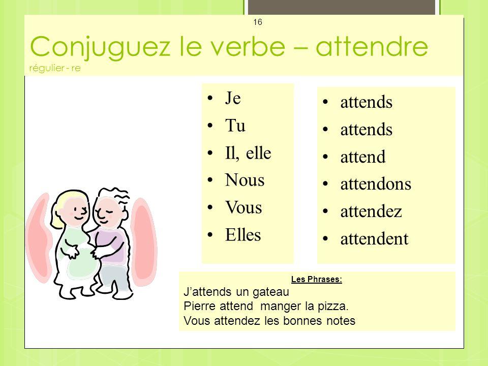 Conjuguez le verbe – attendre régulier - re