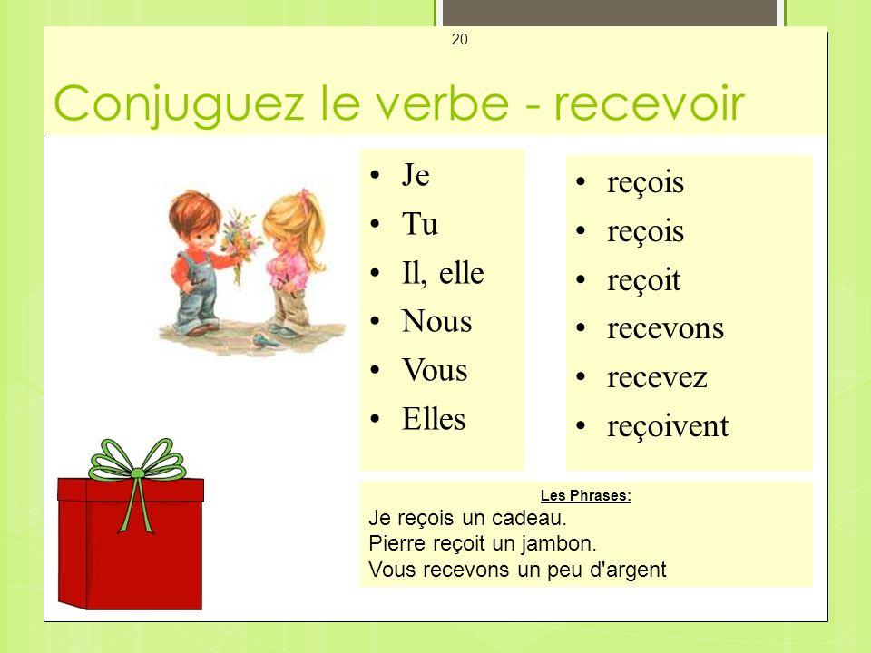 Conjuguez le verbe - recevoir