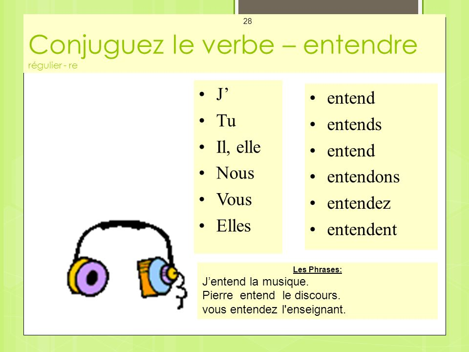 Conjuguez le verbe – entendre régulier - re