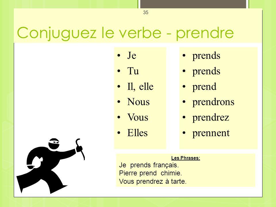 Conjuguez le verbe - prendre