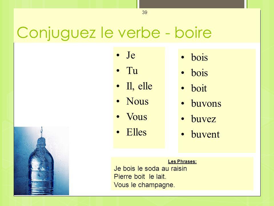 Conjuguez le verbe - boire