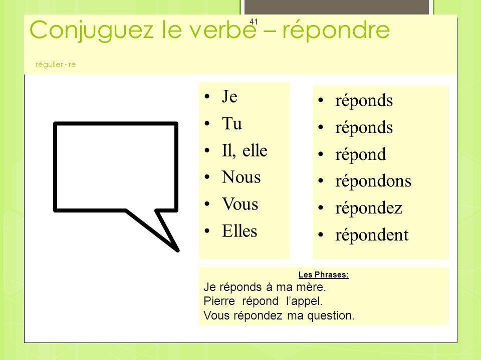 Conjuguez le verbe – répondre régulier - re