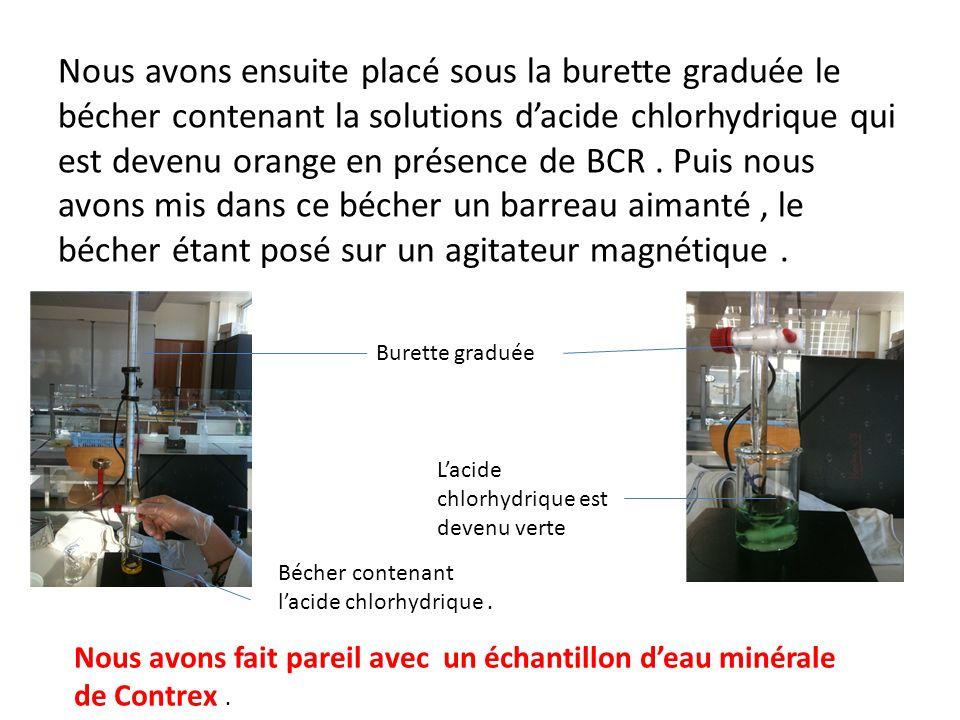 Nous avons ensuite placé sous la burette graduée le bécher contenant la solutions d'acide chlorhydrique qui est devenu orange en présence de BCR . Puis nous avons mis dans ce bécher un barreau aimanté , le bécher étant posé sur un agitateur magnétique .