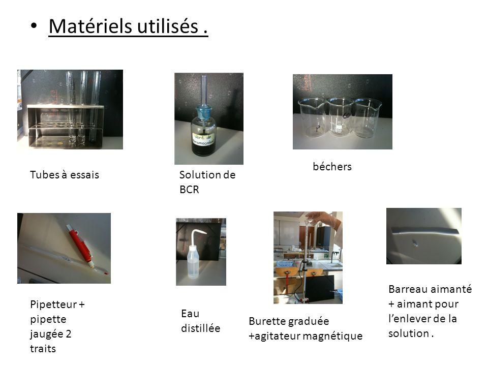 Matériels utilisés . béchers Tubes à essais Solution de BCR