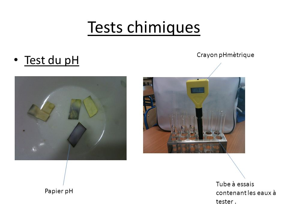 Tests chimiques Test du pH Crayon pHmètrique