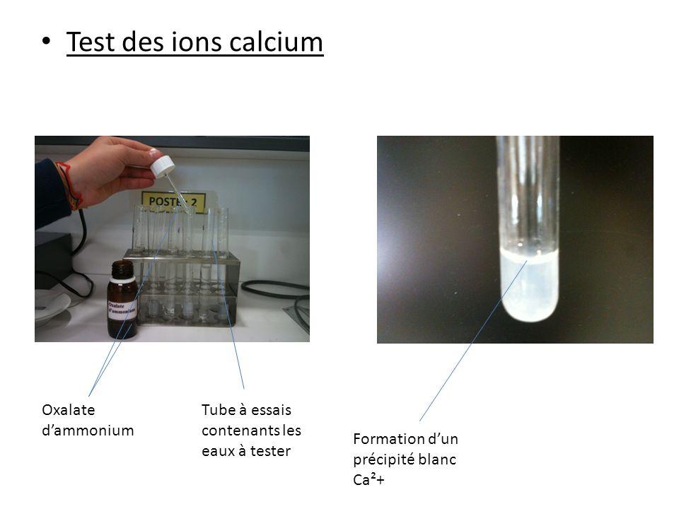 Test des ions calcium Oxalate d'ammonium