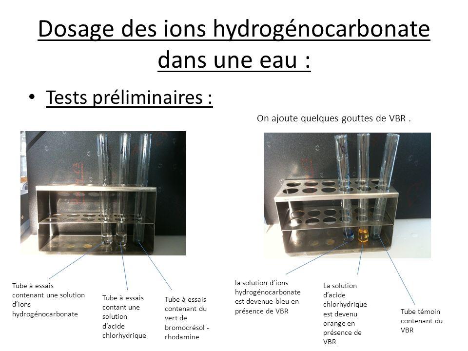 Dosage des ions hydrogénocarbonate dans une eau :