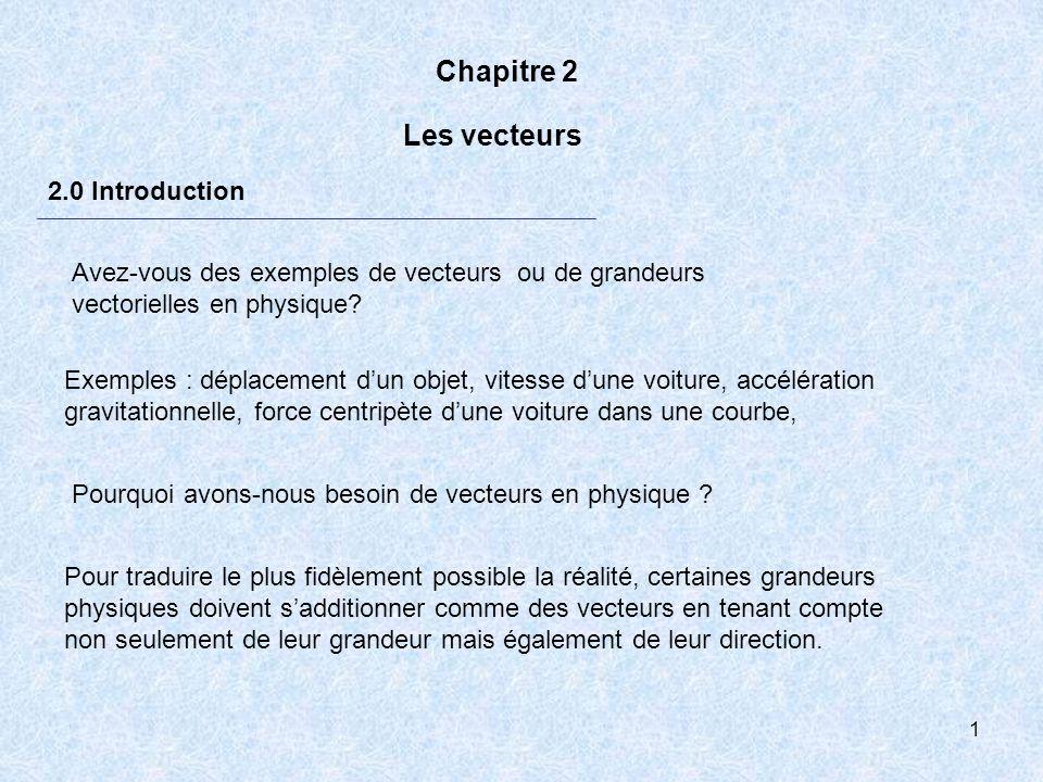 Chapitre 2 Les vecteurs 2.0 Introduction