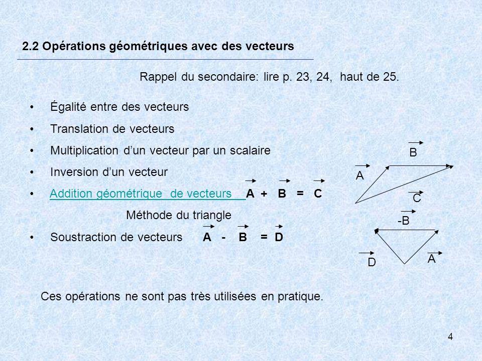 2.2 Opérations géométriques avec des vecteurs
