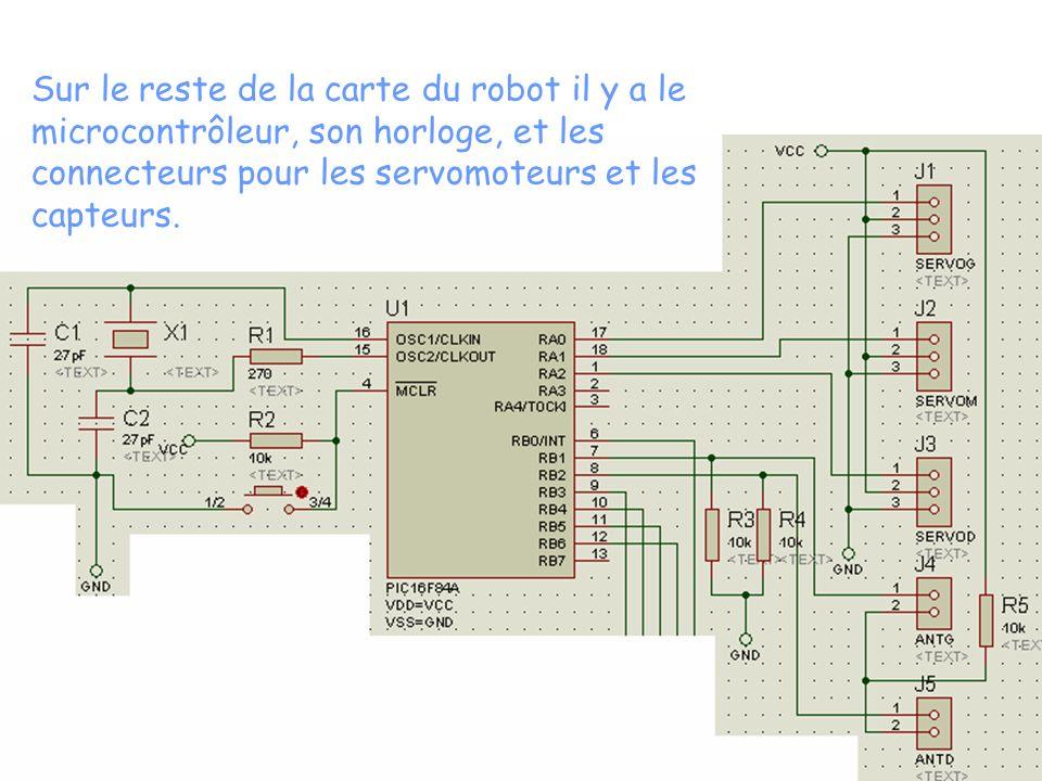 Sur le reste de la carte du robot il y a le microcontrôleur, son horloge, et les connecteurs pour les servomoteurs et les capteurs.