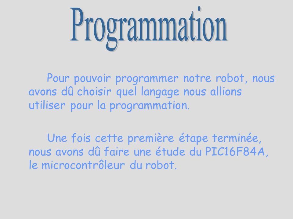 Programmation Pour pouvoir programmer notre robot, nous avons dû choisir quel langage nous allions utiliser pour la programmation.