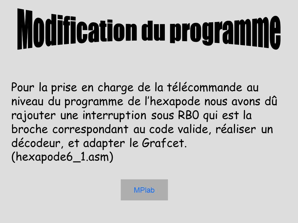 Modification du programme