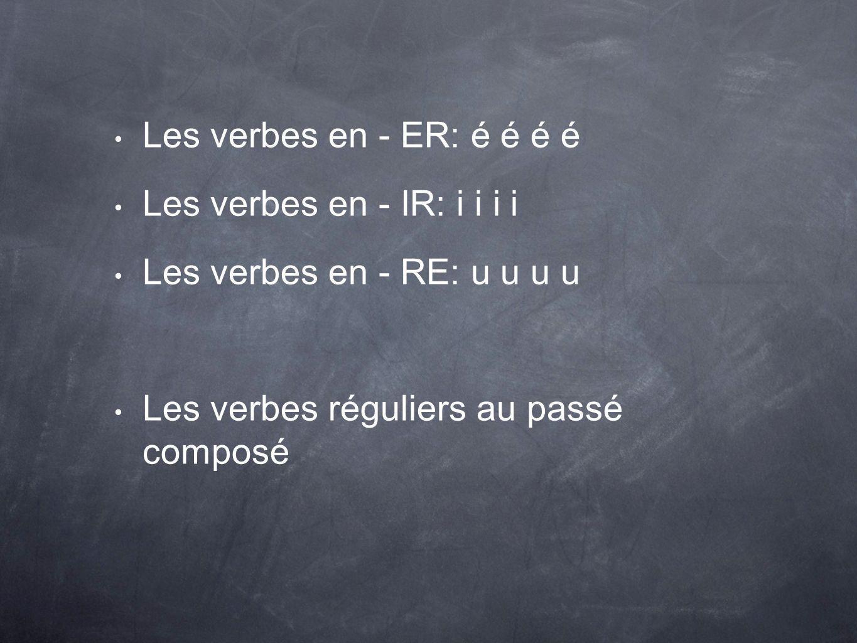 Les verbes en - ER: é é é é Les verbes en - IR: i i i i.
