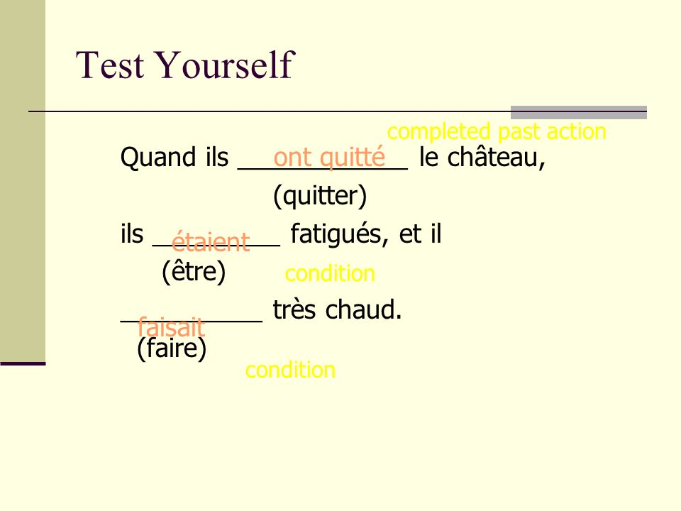 Test Yourself Quand ils ____________ le château, (quitter)