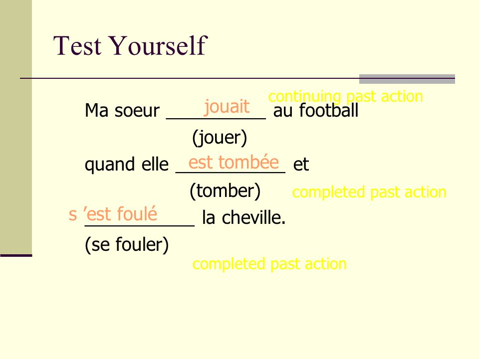 Test Yourself jouait Ma soeur __________ au football (jouer)