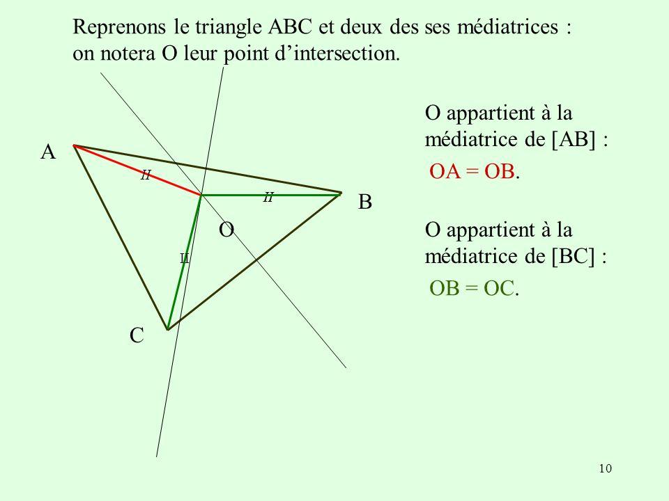 Reprenons le triangle ABC et deux des ses médiatrices :