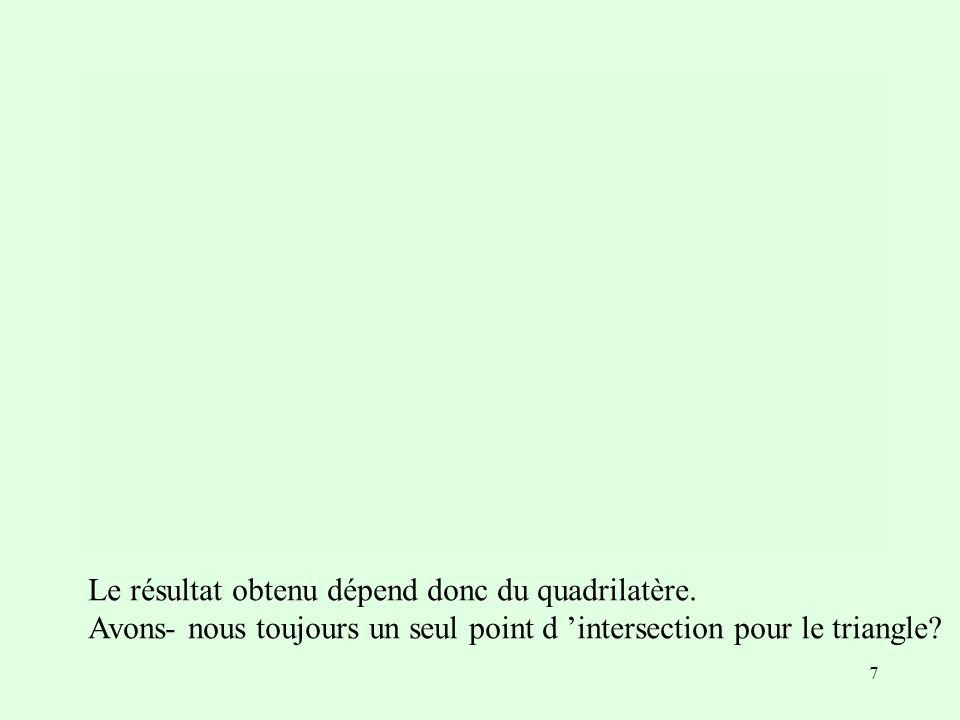 Le résultat obtenu dépend donc du quadrilatère.