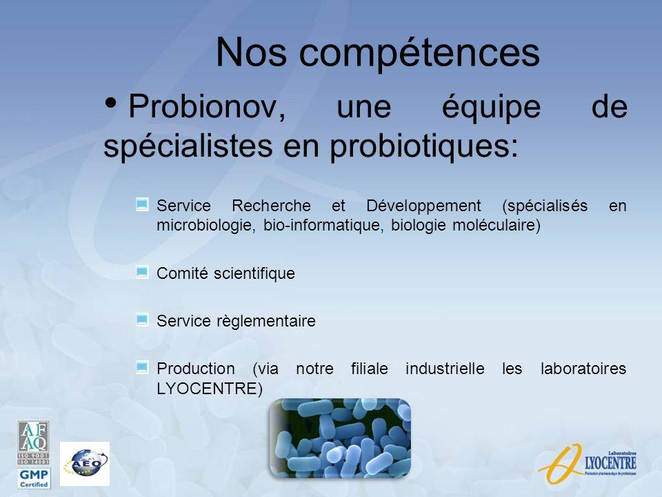 Nos compétences Probionov, une équipe de spécialistes en probiotiques: