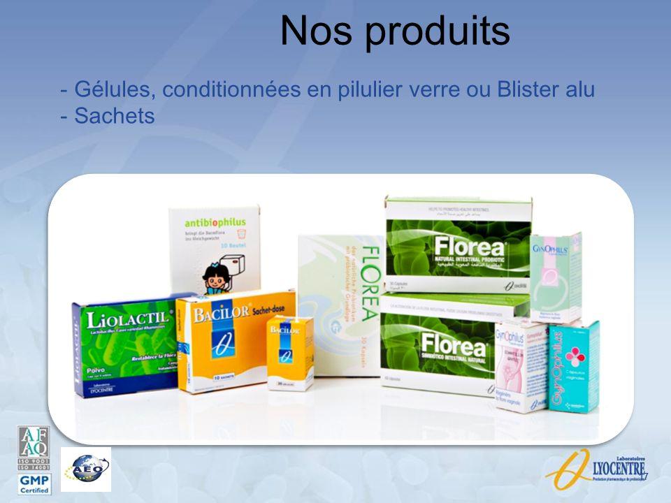 Nos produits Gélules, conditionnées en pilulier verre ou Blister alu