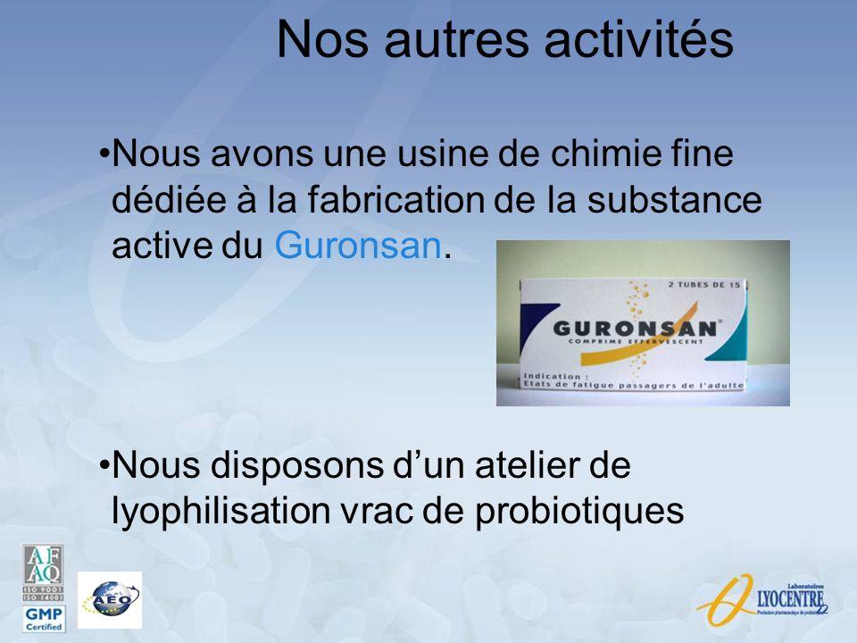 Nos autres activités Nous avons une usine de chimie fine dédiée à la fabrication de la substance active du Guronsan.
