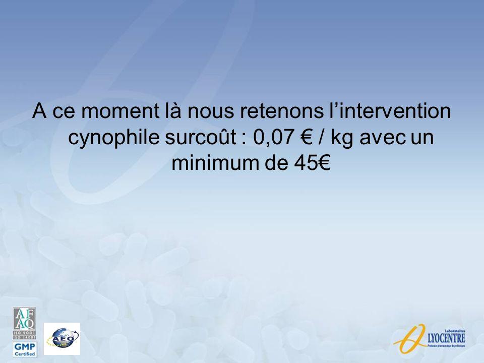 A ce moment là nous retenons l'intervention cynophile surcoût : 0,07 € / kg avec un minimum de 45€