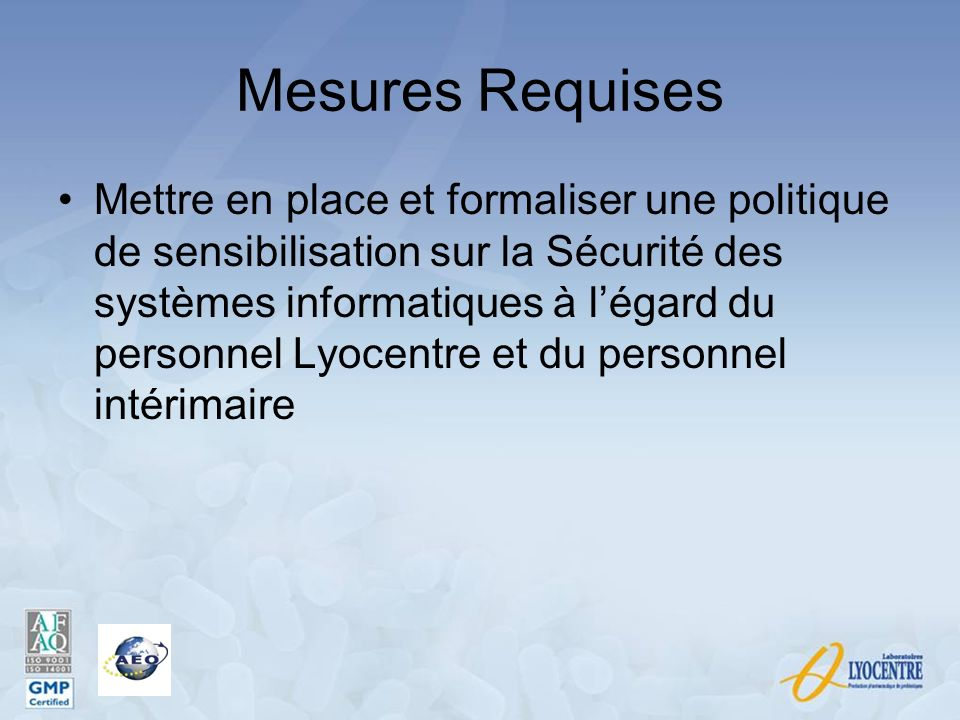 Mesures Requises