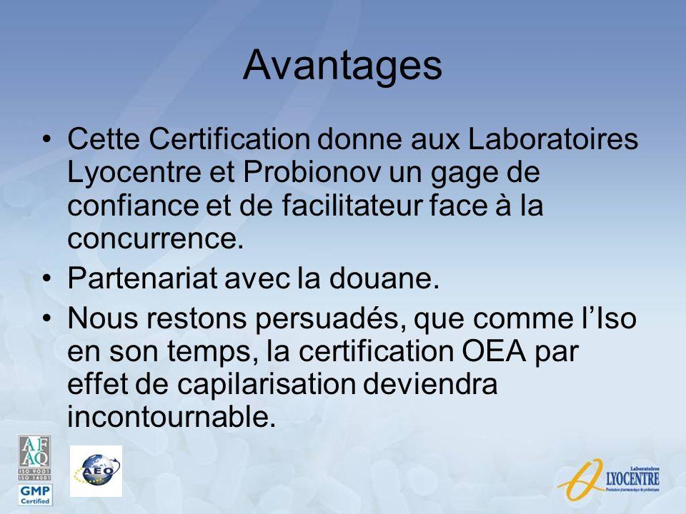 Avantages Cette Certification donne aux Laboratoires Lyocentre et Probionov un gage de confiance et de facilitateur face à la concurrence.