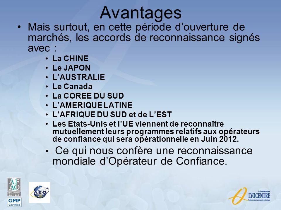 Avantages Mais surtout, en cette période d'ouverture de marchés, les accords de reconnaissance signés avec :