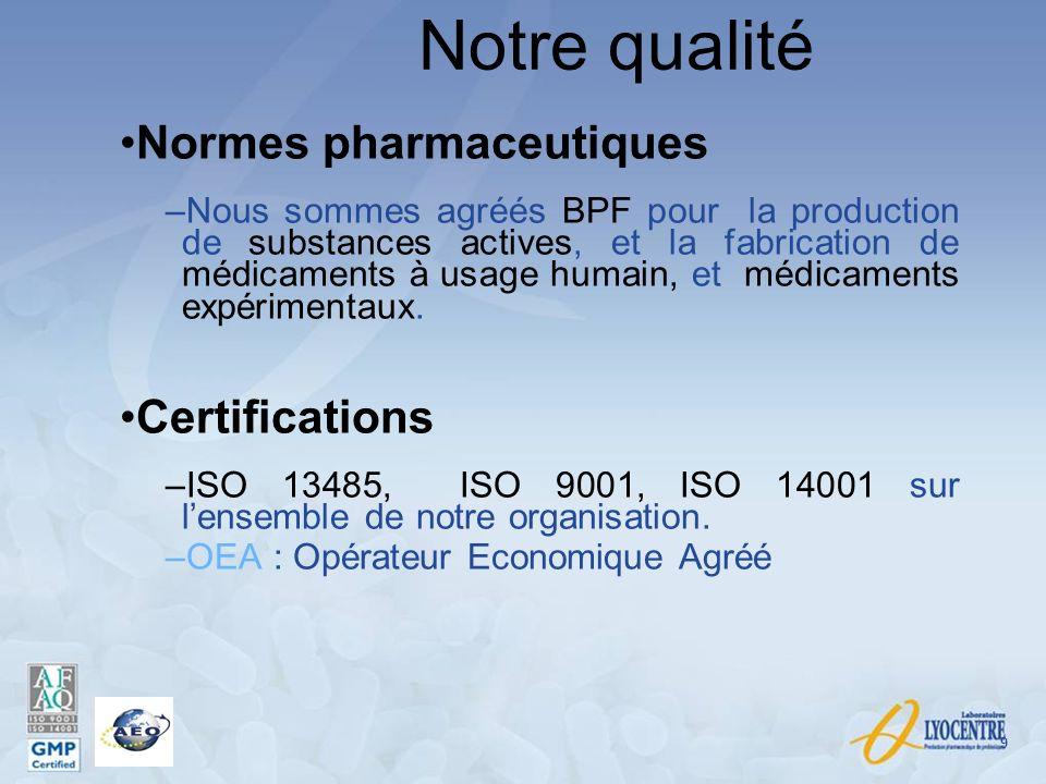 Notre qualité Normes pharmaceutiques Certifications