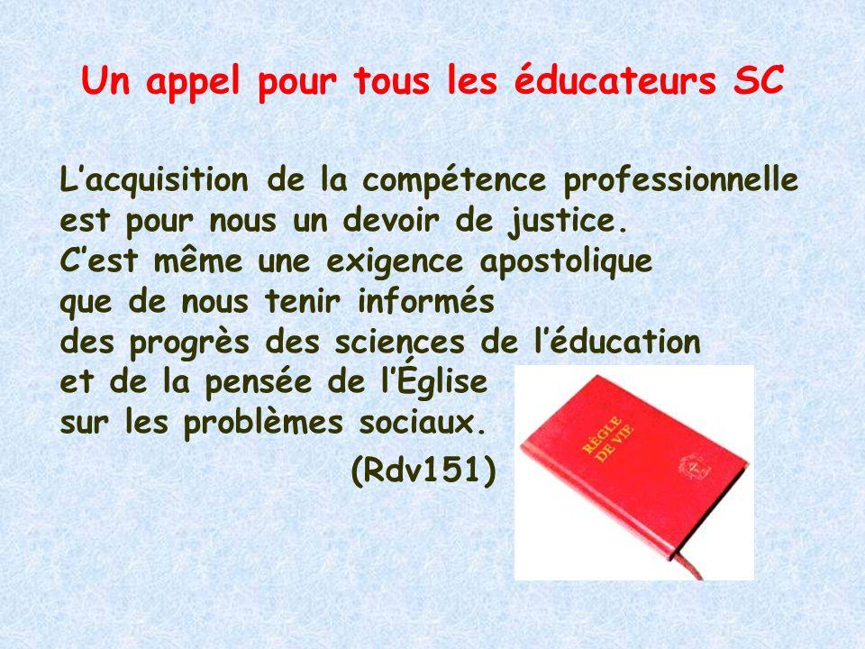 Un appel pour tous les éducateurs SC