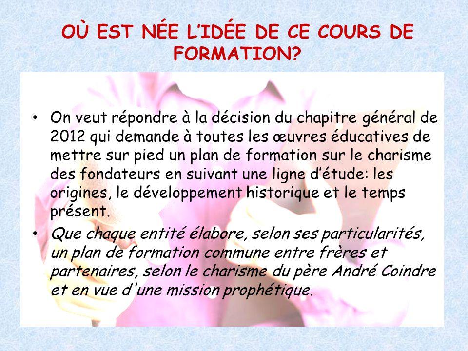 OÙ EST NÉE L'IDÉE DE CE COURS DE FORMATION