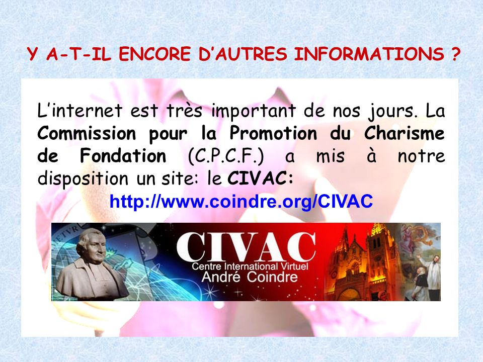 Y A-T-IL ENCORE D'AUTRES INFORMATIONS