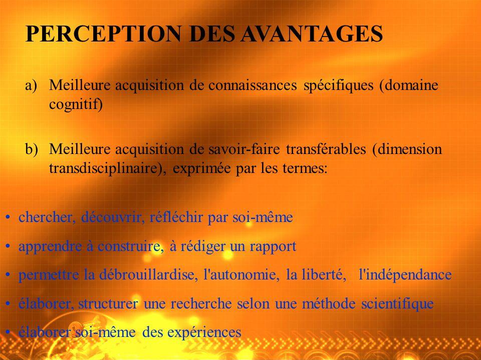 PERCEPTION DES AVANTAGES